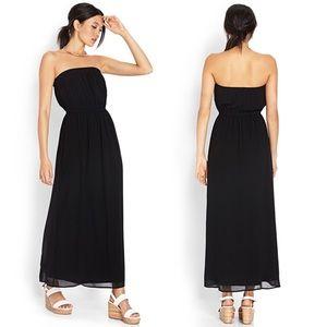 Black Strapless Maxi Tube Dress- Size Large